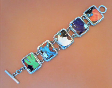 STERLING SILVER BEADED RECTANGULAR LINK BRACELET