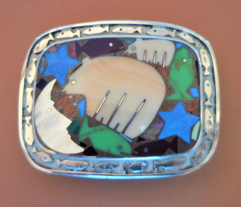 STERLING FISH BORDER BUCKLE