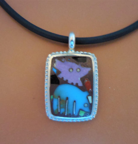 STERLING BEADED RECTANGULAR PENDANT