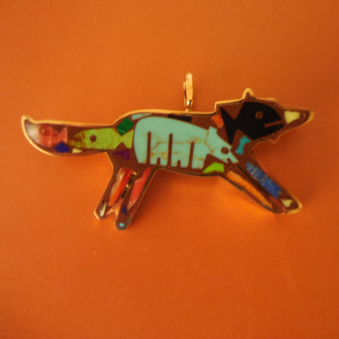 Special Order Kathleen Hicks Bronze Coyote Pendant as a Pin