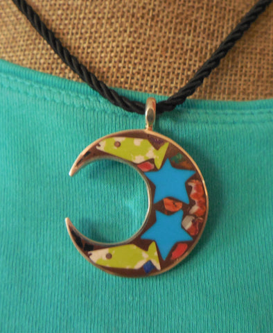 STERLING MOON PENDANT WITH FISH & STARS