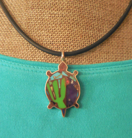 SMALL STERLING TURTLE-SHAPED PENDANT WITH CACTUS & FISH
