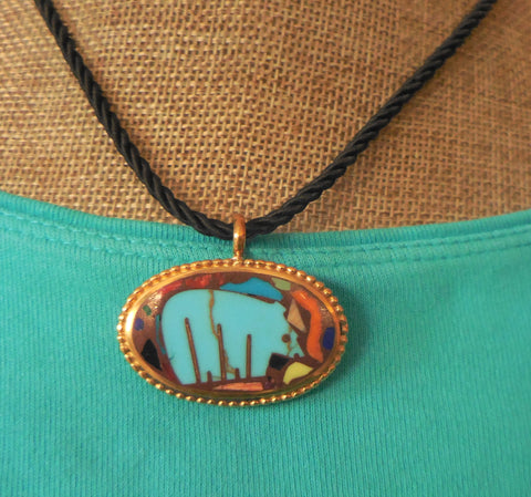 BRONZE BEADED OVAL PENDANT WITH TURQUOISE BEAR