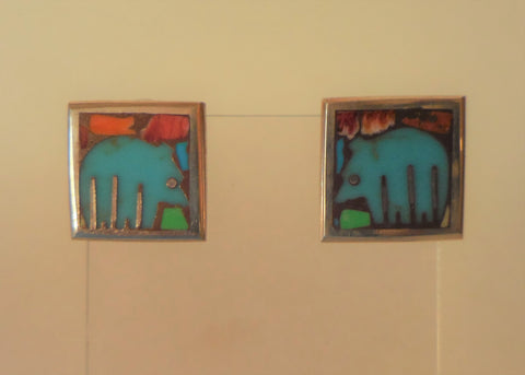 STERLING SMALL SQUARE EARRINGS WITH TURQUOISE BEARS