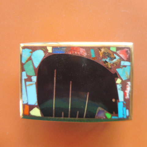 BRONZE RECTANGULAR BUCKLE WITH BLACK BEAR