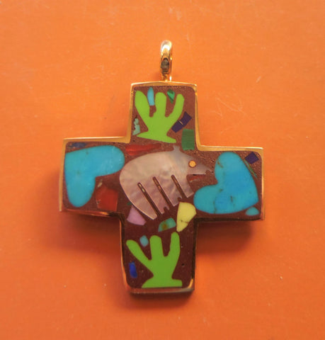 SMALL BRONZE EQUILATERAL CROSS PENDANT WITH BEAR, HEARTS & CACTI