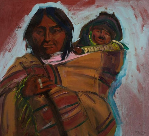 "Kiowa Mother and Child, 11"" X 14"" Print from an Oil Painting by Andrew Shows"