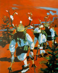 "Red Dawn Deer Dancers, 11"" X 14"" Print from an Oil Painting by Andrew Shows"