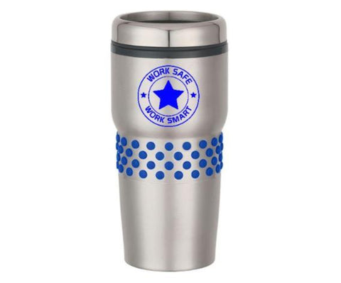 Stainless Steel Tumbler with Rubber Grips Work Safe logo - #402960