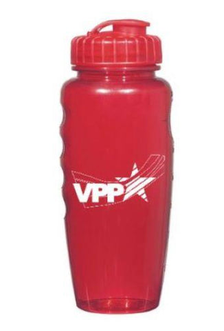 Poly Clear Gripper Bottle Red w/OSHA Logo - #403003