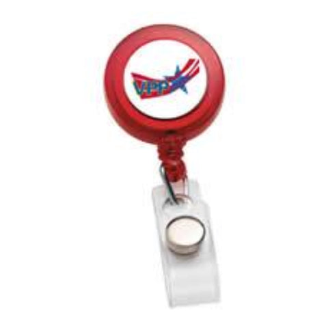 Red Round Badge Holder w/OSHA Logo - #403108