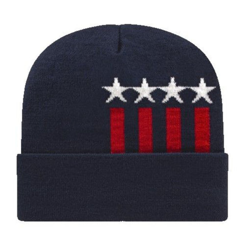 Stars and Stripes Knit Cap w/Cuff - #401813
