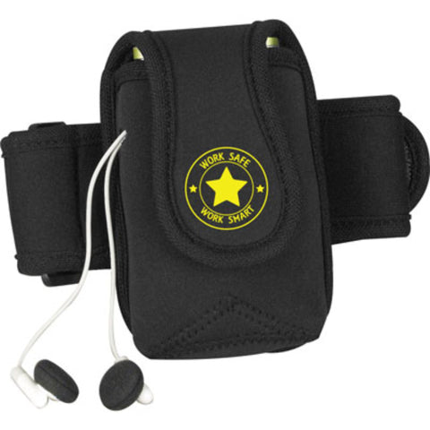 Workout Armband with Media Holder Black w/Work Safe Logo - #402968