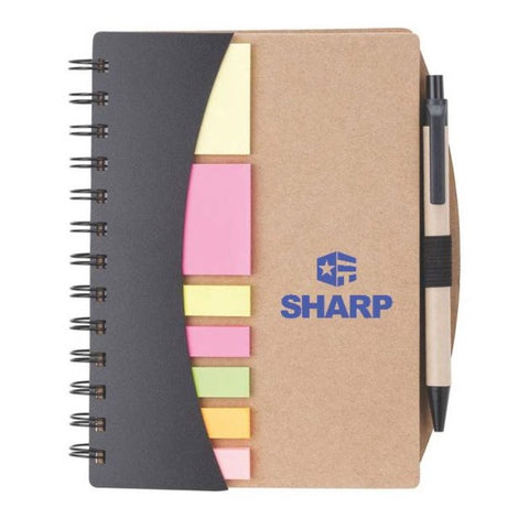 Broome Mini Journal with Pen, Flags & Sticky Notes w/SHARP Logo - #403090