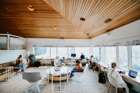 Group of remote workers at The Haven coworking space in Bend, Oregon