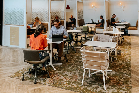A group of remote workers in a coworking space in Bend, Oregon