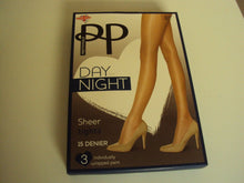 Load image into Gallery viewer, 3 Pack Pretty Polly Day to Night 15 denier Tights Navy Blue sizes to XL PNGVH2