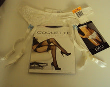 Load image into Gallery viewer, Bali Lace Desire White Garter Belt with bows and stocking set Size S/M