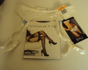 Bali Lace Desire White Garter Belt with bows and stocking set Size S/M