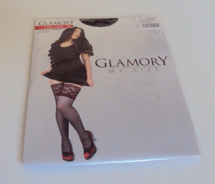 Glamory Deluxe 20 Style 50111 Hold ups (thigh hi's) Black & Champagne up to 4XL