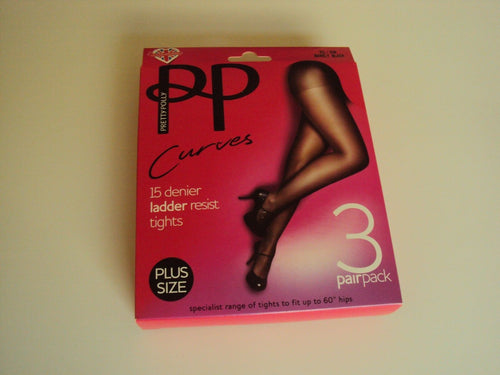 3 Pack Pretty Polly Curves 15 denier ladder resist Tights sizes to XXL PMGK30