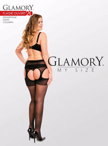 Glamory Plaisir Ouvert 20 Suspender tights Style 50121 Black Sizes M to 4XL