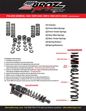 Polaris General 1000 2 Seater Dual Rate Spring Kit For Fox 2.0 Podium QS3 Shocks ZBROZ