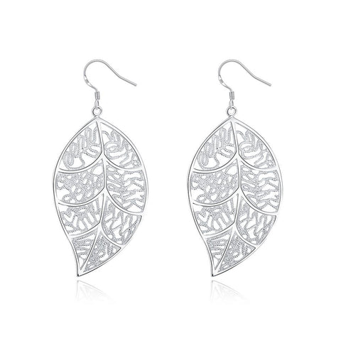Filigree Leaf Earring in White Gold Plated -