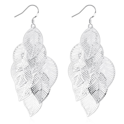 Leaf Drop Earring in White Gold Plated -