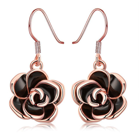 18K Rose Gold Plated Flower Drop Earring -