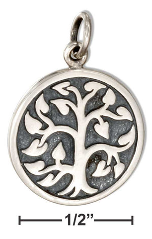 Sterling Silver Round Disk with Tree Of Life Charm