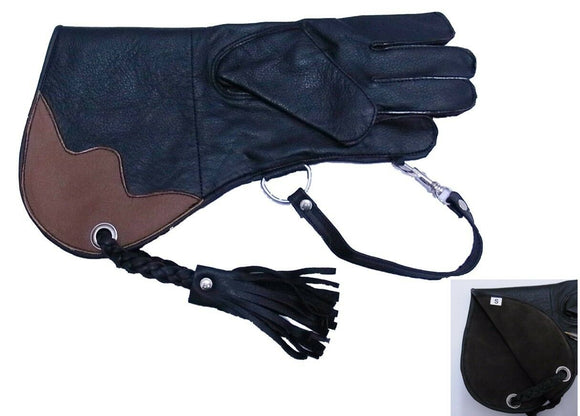 Falconry Glove single skin Cowhide  BLACK & CHOC (Spars Merlins, Kestrels etc)