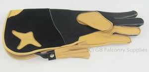 Childrens Falconry Glove, Long Cuff (double skinned) (Black & Yellow)