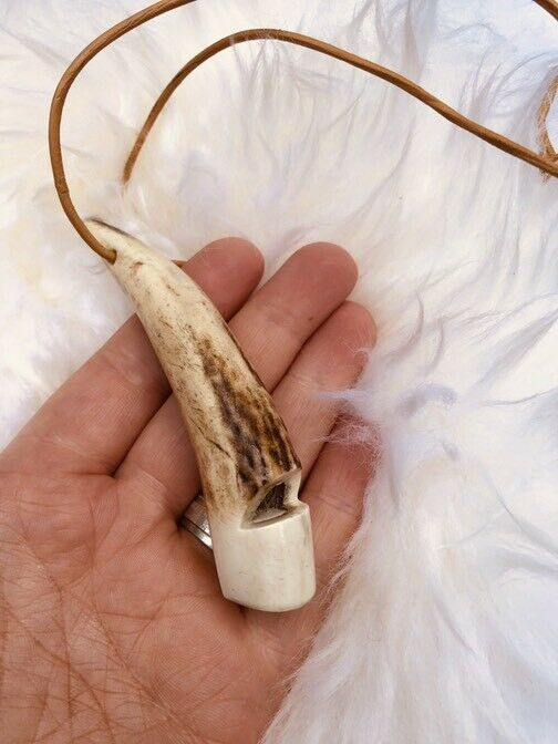 Stag Antler whistle with Leather Lanyard for Falconry & Dog training (handmade)