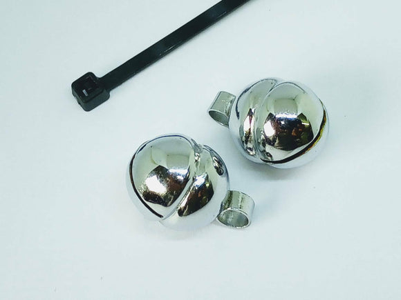 Cat and Kitten nickel Lahore Bells (UK Seller) (Pair with a cable tie)