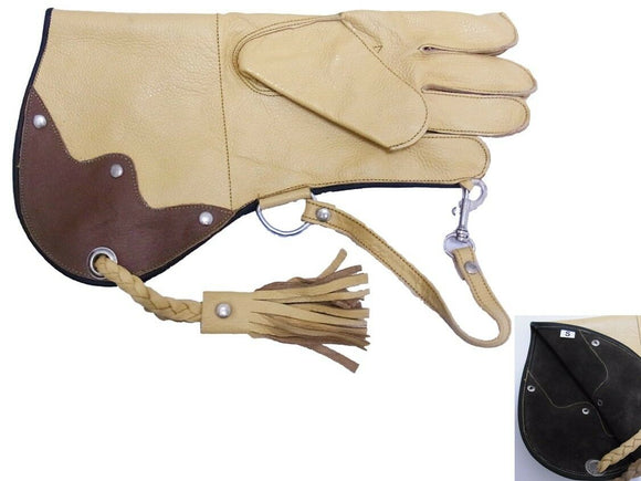 Falconry Glove single skin Cowhide  CREAM & CHOC (Spars Merlins, Kestrels etc)