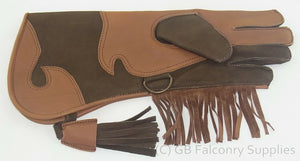 Children's Falconry Glove Long Cuff (double skinned) (Chocolate & Tan)