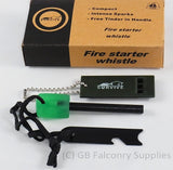 Survival Kit, Firestarter, Multi tool including can opener, and survival whistle