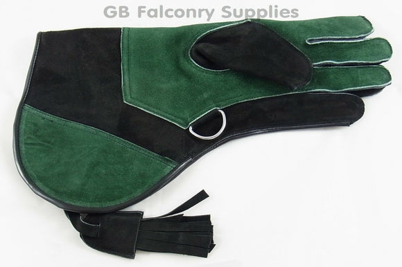 Falconry Suede Leather Double Skin Glove Green & Black