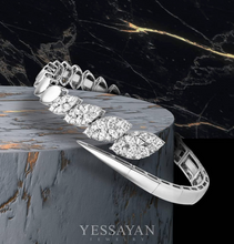 Load image into Gallery viewer, White Gold & Diamond Marquise Illusion Cuff Bracelet