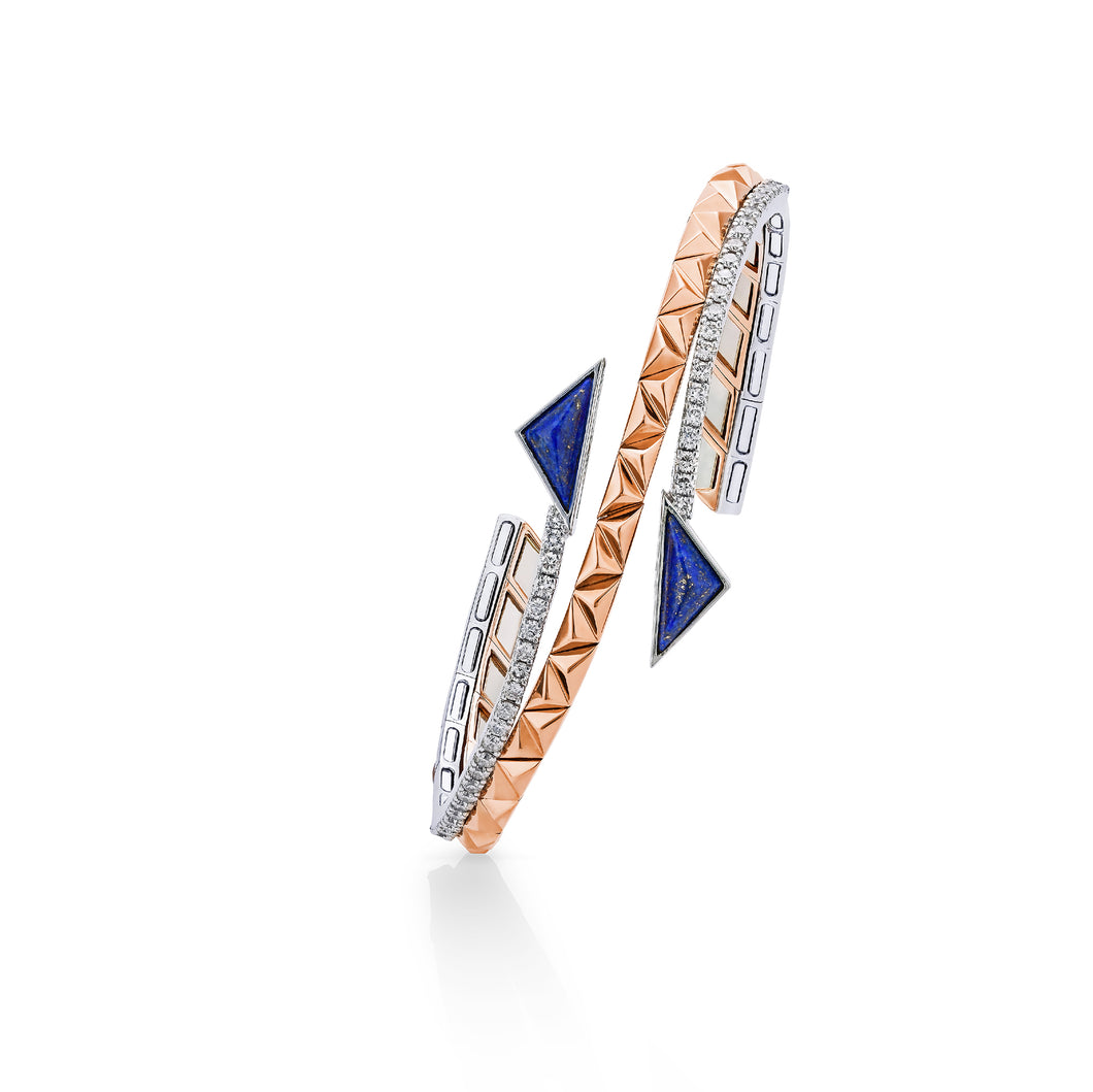 Pyramid Rose & White Gold Diamond Cuff Bracelet