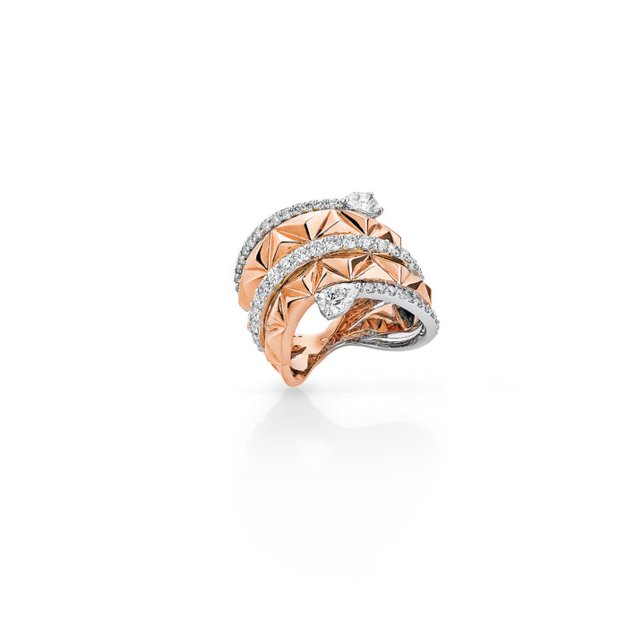 Pyramid Rose & White Gold Pear Diamond Ring