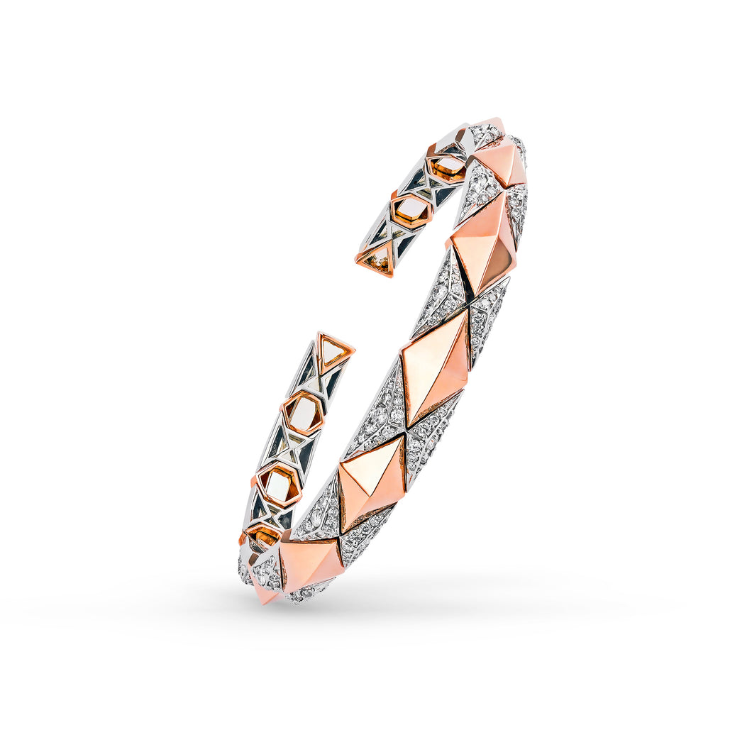 Pyramid Rose Gold & Diamond Bracelet