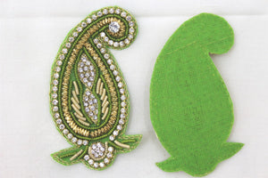 Patches - Thread Embroidery Handmade Zari Work With Cut Work Decorative Patches For Blouse, Saree, Kurtis, Dress, Chaniyacholi & Craft Decoration, Pack of 2 Pcs - 7 x 4 cm