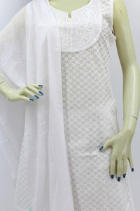 Women's Salwar Kamiz Suit Chikankari White Ladies Kurti and Pant Set