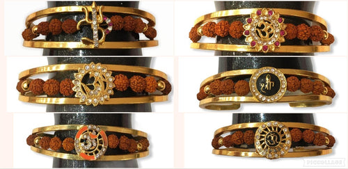 HINDU CUFF BANGLE BRACELET FOR MEN HALF OPEN