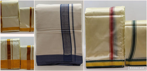 Men's Traditional Veshti / Dhoti / Vasti with Angavastram