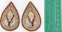 Load image into Gallery viewer, Patches - Thread Embroidery Handmade Zari Work With Cut Work Decorative Patches For Blouse, Saree, Kurtis, Dress, Chaniyacholi & Craft Decoration, Pack of 2 Pcs - 6.5x4 cm