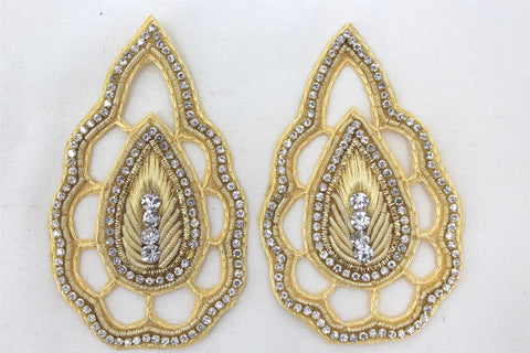 Patches - Thread Embroidery Handmade Zari Work With Cut Work Decorative Patches For Blouse, Saree, Kurtis, Dress, Chaniyacholi & Craft Decoration, Pack of 2 Pcs - Golden