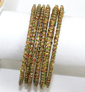 Indian Glass Bangles Set - stone with Thread Designed Bollywood Traditional Beautiful Bangle Set of 6 for Women Girl Wedding Favour